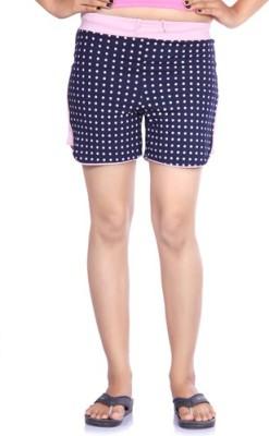 Happy Hours Polka Print Women's Dark Blue Bermuda Shorts