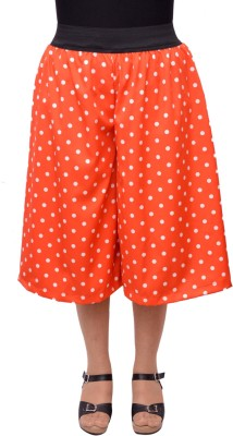 V3ishop Polka Print Women's Orange Culotte Shorts