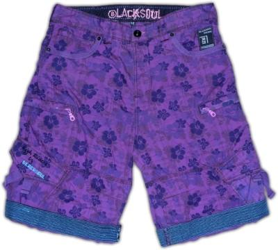 Blacksoul Floral Print Men's Purple Cargo Shorts