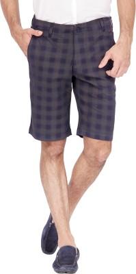 urbantouch Checkered Men's Black, Blue Basic Shorts