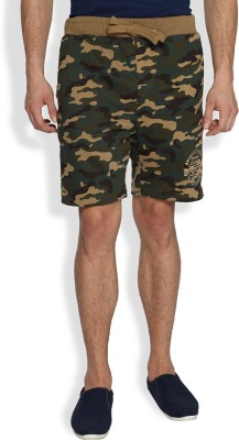Difference of Opinion Printed Men's Green Basic Shorts