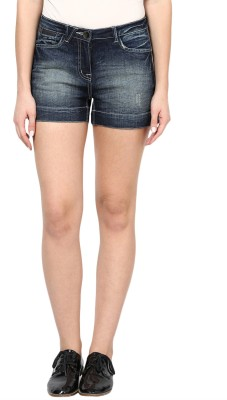 Species Solid Women's Denim Dark Blue Denim Shorts