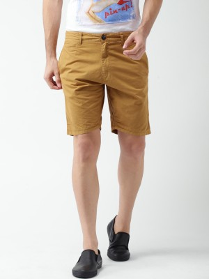 Mast & Harbour Solid Men's Brown Basic Shorts