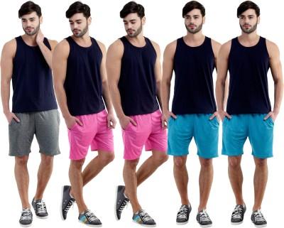 Dee Mannequin Self Design Men's Grey, Pink, Pink, Blue, Blue Sports Shorts