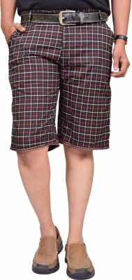 British Terminal Checkered Mens Red Bermuda Shorts