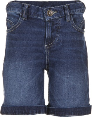Tickles By Inmark Solid Boy,s Blue Denim Shorts