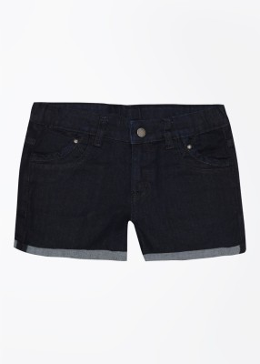United Colors of Benetton Solid Girl's Blue Denim Shorts