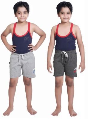 Red Ring Self Design Boy's Grey Sports Shorts