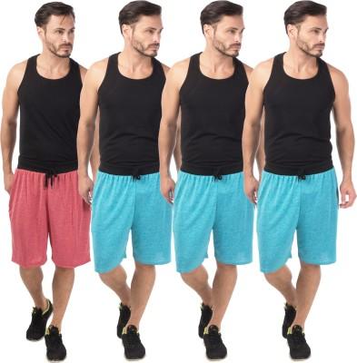 Meebaw Self Design Men,s Red, Blue, Blue, Blue Sports Shorts