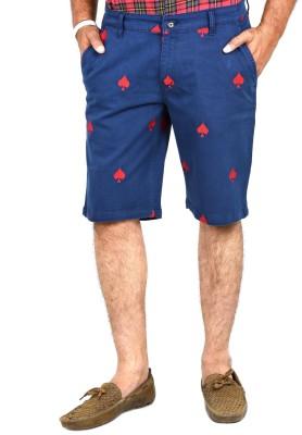 Indigen Embroidered Men's Blue Chino Shorts