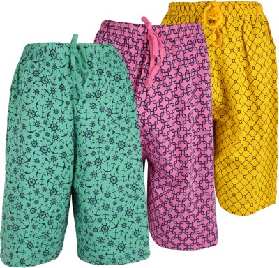 WEECARE Graphic Print Boy's Pink, Light Green, Gold Bermuda Shorts