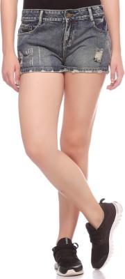 Fasnoya Self Design Women,s Denim Dark Green Denim Shorts