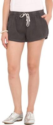 Paprika Solid Women's Black Basic Shorts