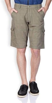 Vintage Solid Men's Green Denim Shorts