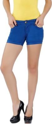 F Fashion Stylus Solid Women's Denim Blue Denim Shorts