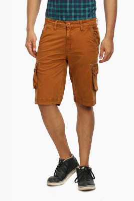 Wear Your Mind Solid Men's Gold Cargo Shorts