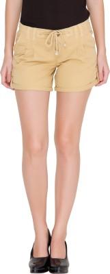 Alibi Solid Women's Beige Basic Shorts