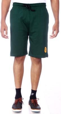 Shootr Solid Men's Green Bermuda Shorts