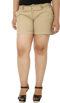 LastInch Solid Women's Beige Basic Shorts