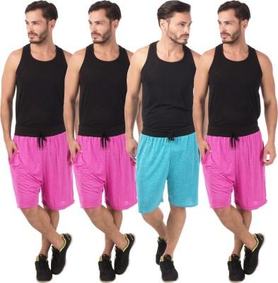 Meebaw Self Design Men,s Pink, Pink, Pink, Blue Sports Shorts