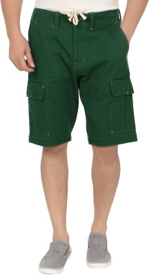 Blimey Solid Men's Dark Green Cargo Shorts