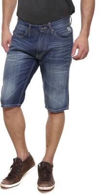 Pepe Solid Men's Denim Blue Denim Shorts