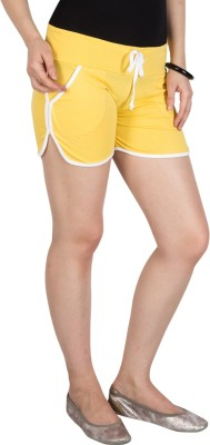 Campus Sutra Solid Womens Yellow Basic Shorts