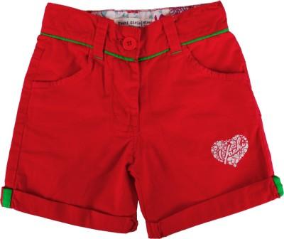 Yazhi Solid Girl's Red Basic Shorts