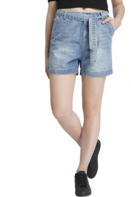Vero Moda Solid Women's Blue Denim Shorts