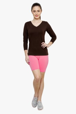 Softrose Solid Women's Pink Cycling Shorts