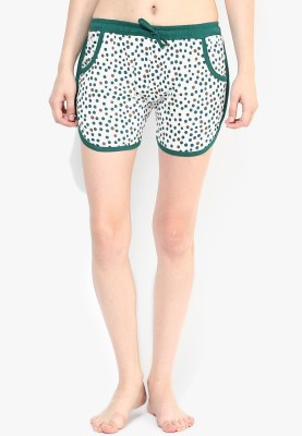 Red Rose Printed Women's Green, White Hotpants