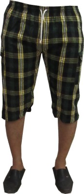 Revinfashions Checkered Men's Dark Green Basic Shorts