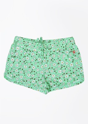 United Colors of Benetton Floral Print Baby Girl's White, Green, Multicolor Night Shorts