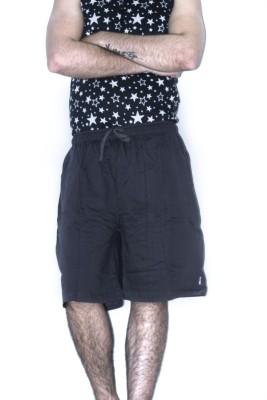 KHAIBER Solid Men's Grey Baggy Shorts
