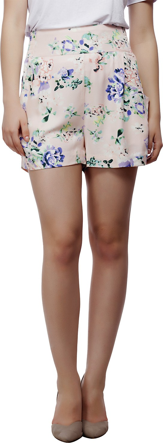 Living Doll Floral Print Womens Multicolor Basic Shorts