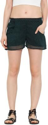 Trend Arrest Polka Print Women's Black Beach Shorts