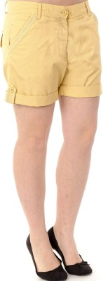 Mavango Solid Women's Yellow Basic Shorts