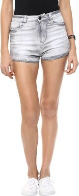 CODE 61 Self Design Women,s White Denim Shorts