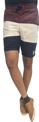 London Eye Striped Men's Dark Blue, Maroon Sports Shorts