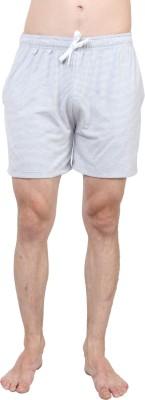 SayItLoud Striped Men's Grey, White Gym Shorts