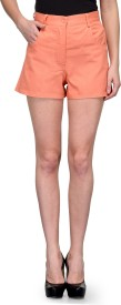 Teesort Solid Women's Pink Basic Shorts, Hotpants