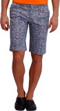 Blue77 Floral Print Men's Blue Basic Sho...