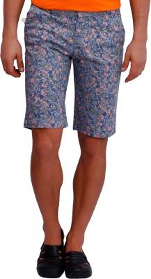 Blue77 Floral Print Men's Blue Basic Shorts