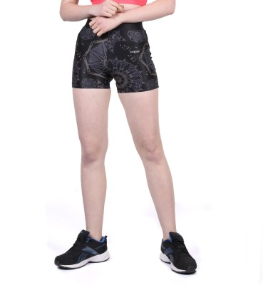 Yogue Printed Women's Black, Purple Gym Shorts