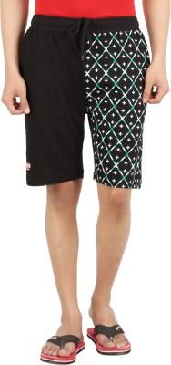 Sixer Knitting Printed Men,s Black Basic Shorts