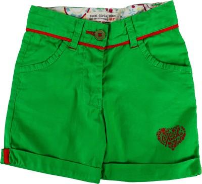 Yazhi Solid Girl's Green Basic Shorts