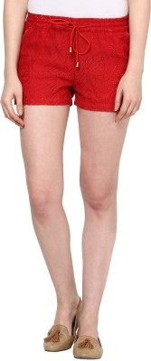 The Vanca Self Design Women's Red Basic Shorts