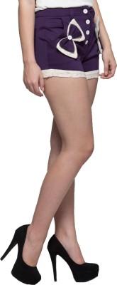 Tryfa Solid Women,s Purple Basic Shorts