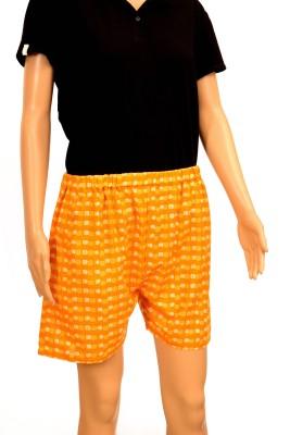 FSTOP Printed Women's Orange Night Shorts
