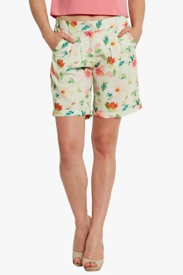 Bandbox Floral Print Women's Green Basic Shorts